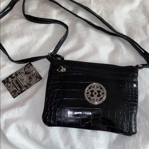 Black faux reptile patterned crossbody purse